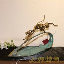 Abstract Art Deco Sculpture Bronze Two Panther Leopard Fruit tray Statue
