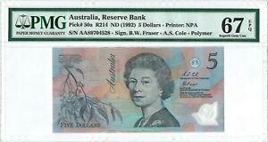 Australia 5 Dollars P50a 1992 PMG 67 EPQ s/n AA89704528 Polymer