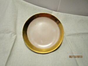 Vintage Butter Pat White with Gold Rim Signed France on the Back in Green