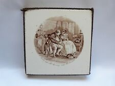 Antique 6'' ceramic tile teapot stand James Mahoney illustration, Dickens Twist