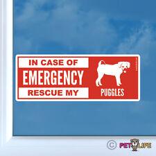 In Case of Emergency Rescue My Puggles Sticker Die Cut Vinyl - dog safety