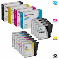 LD 10 Pack LC61 Black & Color Ink Cartridge Set for Brother Printer