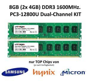 8GB (2x 4GB) Dual Channel KIT DDR3 1600MHz PC3-12800U 240PIN PC RAM Speicher