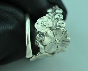 Beautiful 925 Sterling Silver Spring Flower Spoon Ring
