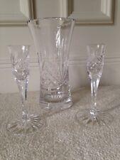 Beautiful Crystal ? Waterford, ? Mikasa ? Royal Scot Vase and Candlesticks - EUC