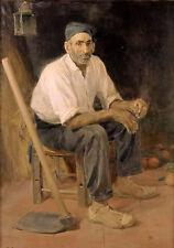 Oil painting jose benlliure el tio andreu de rocafort Uncle Andrew Roquefort