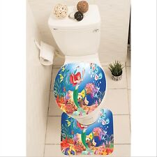 The Little Mermaid Ariel Set of 3 Bathroom Rug Mat Toilet Lid Cover y70 w0048