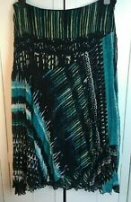 """PER UNA SKIRT - Size 14 - Crinkle - fixed wrap - Blue mix-33"""" long light lined I"""