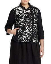 1X Lafayette 148 New York Arbor Leaf-Print 3/4-Sleeve Jacket, Black/White $628