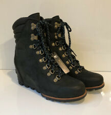 NEW SOREL Conquest Wedge Women's 9.5 Black Dark Gray Lace Up Boot Padded Collar