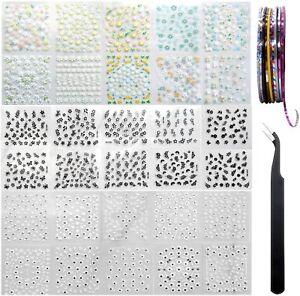 AYWFEY 60 fogli nero bianco colorato fiore 3D mini nail art design...