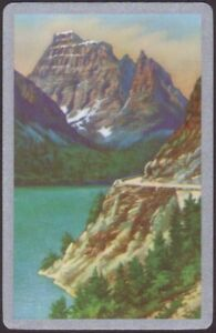 Playing Cards Single Card Old Vintage * SCENIC MOUNTAINS LAKE TREES * Art Design