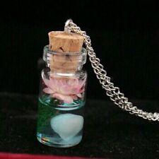 Luminous Glow In The Dark Flower Pendant Fluorescent Glass Wish Bottle Necklace