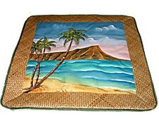 "HP Hawaiian Surf Decor Diamond Head Lauhala Quilted Pillow Case Cover 18"" New"