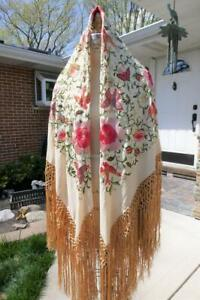 """VINTAGE SILK H. EMBROIDERY PIANO SHAWL BIRDS BUTTERFLIES 18"""" HAND KNOTTED FRINGE"""