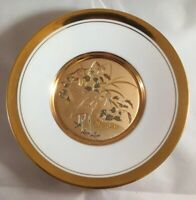"""Vintage LAL Ancient Art Of Chokin 6""""  Plate With Birds Japan PL-210 Good Cond."""