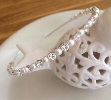 DESIGNER PEARL & DIAMANTE BRIDAL HEADBAND TIARA HANDMADE WITH SWAROVSKI ELEMENTS