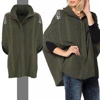 warm & edel 15% Wolle Gr.38/40 PONCHO Strickjacke Cardigan KHAKI Pullover