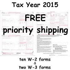 10) W-2 Wage & Tax Statement 2015 IRS Tax Forms & 2) W-3 Transmittal Forms W2 W3