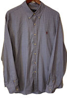 Men's Polo Ralph Lauren Blue Maroon Plaid Button Down Shirt XL L/S Classic