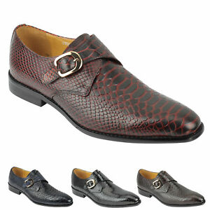 Mens Real Leather Crocodile Skin Effect Monk Strap Shoes Slip on Smart Loafer