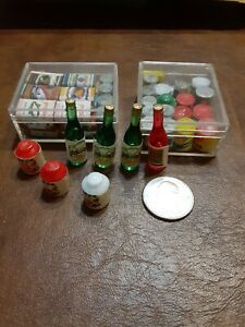 DOLLHOUSE Miniature Canned and Bottled Food 48 pieces