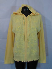 J Jill M Sweater Hooded Cardigan Zipper Yellow Top Long Sleeves Embroidered
