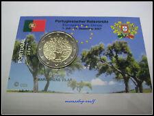 """2 euro conmemorativa Portugal 2007 UNC """"ue-presidencia del consejo"""" coincard/info mapa"""