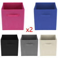 2x Foldable Square Storage Collapsible Folding Box Clothes Organizer Fabric Cube