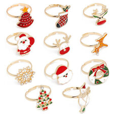 Christmas Statement Enamel Rings Santa Claus Christmas Tree Women Gold Jewelry