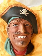 England Chalkware Character Head Bosson Pirate Hat Skull Crossbones Blue Eyes