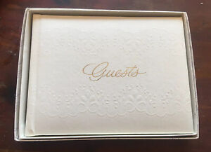 CR Gibson Gold Stamped Guest Book Ivory Floral Embossed VINTAGE DEAD STOCK NIP