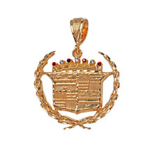 New Very Large 18K Gold Plated Cadillac Pendant - LIFETIME WARRANTY