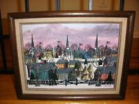Vintage oil painting listed artist Jo Sickbert primitive folk art winter village