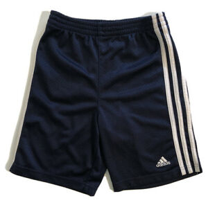 Adidas Blue White Stripe Boys Youth Shorts Sports Active Wear Size 6