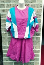 80'S 90'S TRACK SUIT COLOR BLOCK  TOP SHORTS SZ M FRESH PRINCE VINTAGE