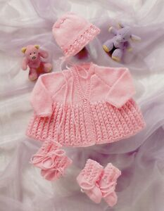 Baby DK Knitting Pattern Baby Matinee Cardigan and Bonnet  Sizes 12 -18 inch #96