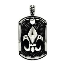 Stainless Steel Fleur de Lis Dog Tag Pendant,  Free Ball Chain