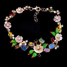 925 Silber Armband Rosegold beschichtet, Mehrfarbig Saphir Opal Perlmutterrosen