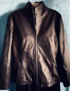 KENNETH COLE Espresso brown LEATHER  Jacket Full Zip NWOT Women's SMALL