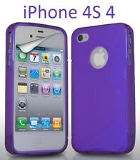 TPU gel silicone case cover S-line purple for Apple iPhone 4S / iPhone 4