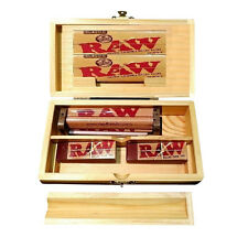 ROLLING TRAY STORAGE STASH BOX + 2PKS RAW KING SLIM PAPERS 100 Tips + RAW Roller