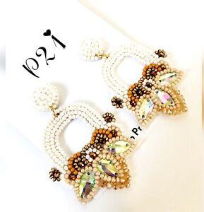 White Beaded Fashion Bohemian Earrings Pierced Earrings Dangle Earrings