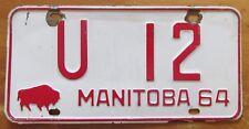 Manitoba 1964 U-DRIVE License Plate # U 12