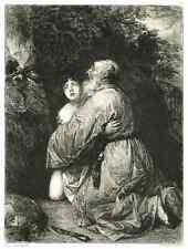ISAAK in ABRAHAMS WAHN - OriginalRadierung 1888 William UNGER nach Jan LIVENS