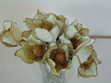 Lot of 10 Ivory & Gold Artificial Flowers 5 Silk & Wire Petals Wire Stem 8 3/4""