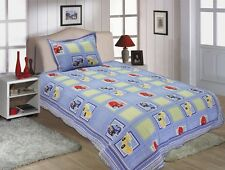 Kids Race Car Design Twin Size Embroidered Quilt 2 PCS Set Blue # 510-26