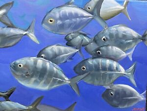 "Abbott Oil Canvas 12""x16"" School Is In Session For An Army Of Fish On The March"