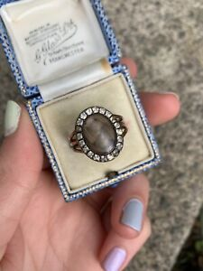 Antique Georgian Gold and Paste Mourning Ring