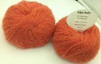 10 pelotes de laine bébé alpaga  paprika - extréme douceur  - Fabriqué en France